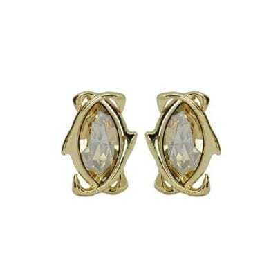 Attracted Golden Crystal Stud Earrings