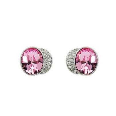 Gloria Light Pink Crystal Stud Earrings