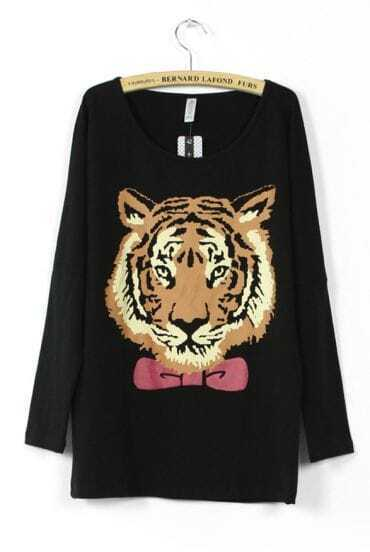 Black Bowtie Tiger Face Print Batwing Long Sleeve T-shirt