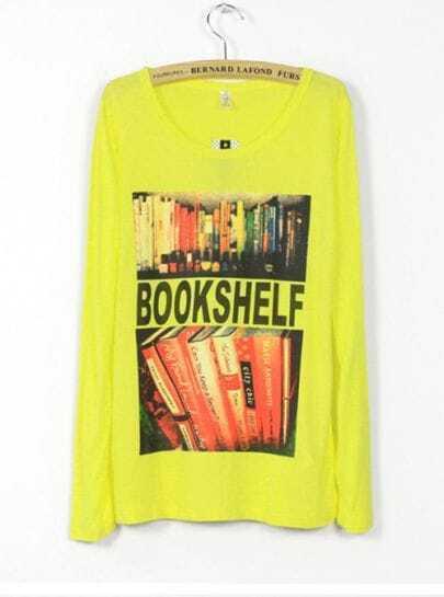 Yellow BOOKSHELF Print Long Sleeve T-shirt