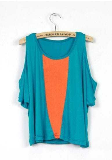 Turquoise Open Shoulder Short Sleeve T-shirt Contrast Orange Panel