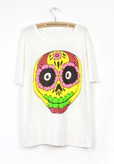 White Skull Print Loose Short Sleeve T-shirt