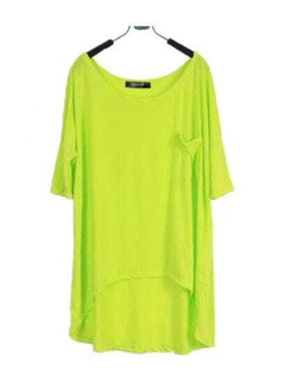 Lime Green Scoop Neck Short Sleeve Dipped Hem T-shirt with Pocket