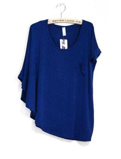 Blue Bat-wing Sleeve Loose Cuff Asymmetrical T-shirt