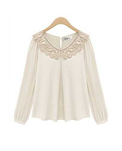 White Lace Piercing Embroidery-shape Chiffon Shirt