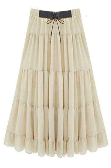 White Chiffon Pleated Modern Skirt