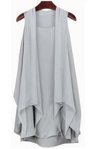 Round Neck Chiffon Dress Grey
