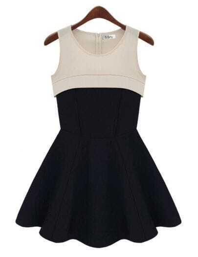 Waist Stitching Vintage Sleeveless Dress