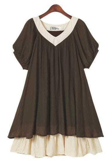 Loose Short-sleeved V Neck Dress