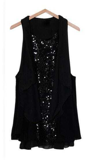 Loose Sequin Chiffon Dress Black