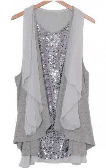 Loose Sequin Chiffon Dress Grey