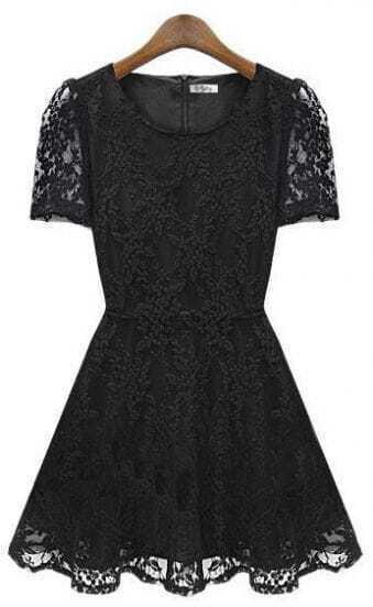 Slim Bottoming Short-sleeved Lace Dress Black
