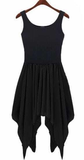 Irregular Chiffon Stiching Dress Black
