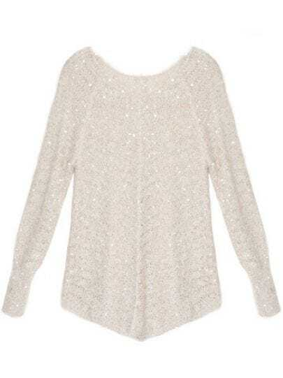 V Neck Loose hollow sweaters Beige