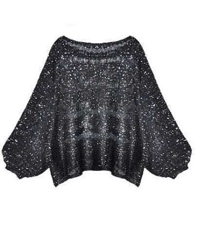 Loose Round Neck Hollow Sequined Sweater Black