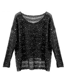 All-match Loose Round Neck Long-sleeved Sequined Sweater