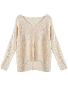 Loose Sequin Long-sleeved Beige Sweater