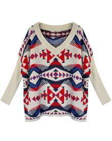 V Neck Geometric Printing Loose Sweater