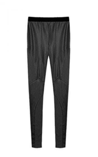 Black Patchwork PU Skinny Pant