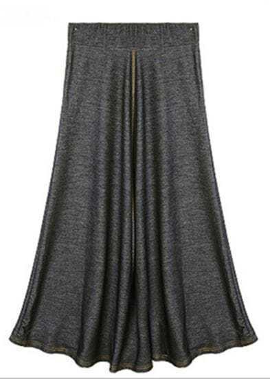 Black Vintage Denim Full-Length Skirt