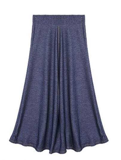 Blue Vintage Denim Full-Length Skirt