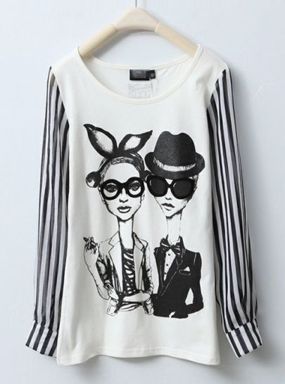 White Fashion Lady Print T-shirt with Chiffon Stripe Long Sleeve
