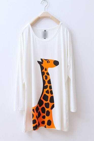 White Giraffe Print Round Neck Long Sleeve T-shirt
