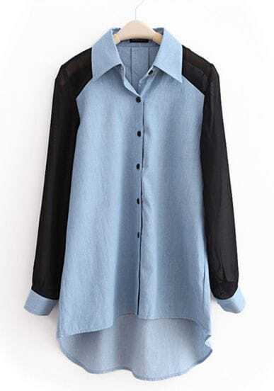 Light-blue Lapel Patchwork Chiffon Denim Shirt