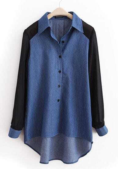 Dark-blue Lapel Patchwork Chiffon Denim Shirt