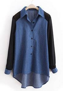 Dark-blue Lapel Patchwork Chiffon Denim Shirt