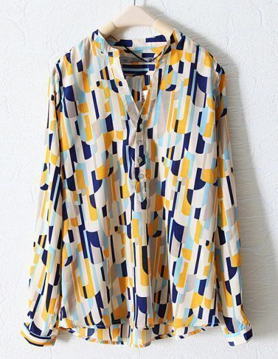 Blue Mandarin Collar Loose Long Sleeve Shirt