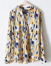 Blue Mandarin Collar Loose Long Sleeve Shirt