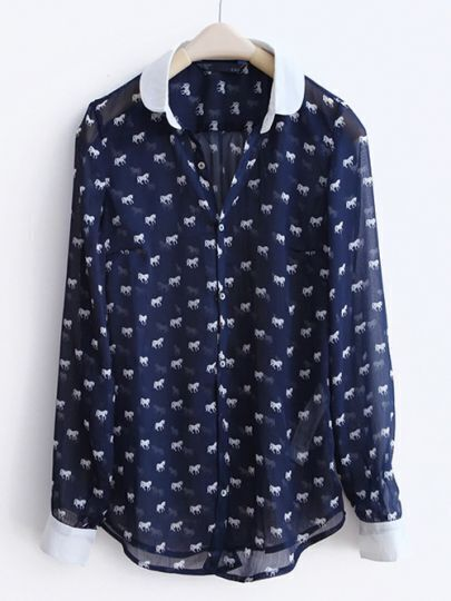 Dark-blue Pony Print Patchwork Chiffon Shirt