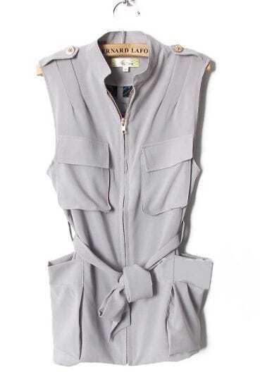 Grey Bow Modern Sleeveless Shirt