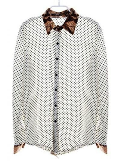 Serpentine Collar Stiching Polka Dot Shirt White