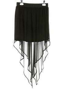 Black Asymmetrical Chiffon Skirt