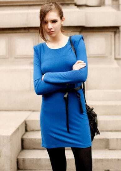 Shoulder Pad With Belt Slim Long-sleeved T-shirt Blue