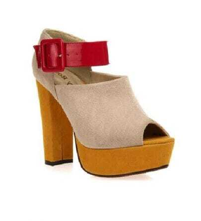 Peep Platform Cream-coloured Shoes