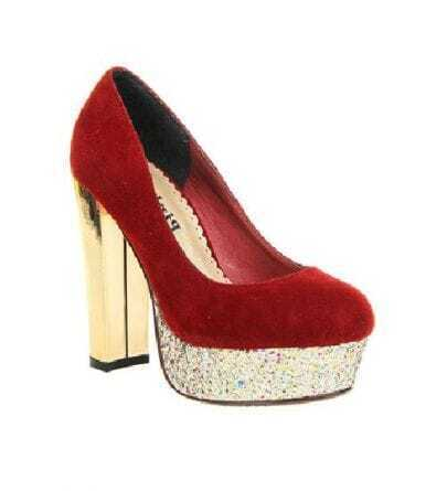 Paillette Embellished Red Shoes