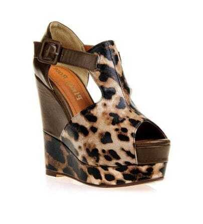 Color Contrast Leopard Wedges