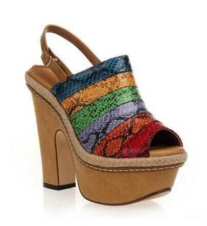 Colorful Peep Toe Platform Sandal