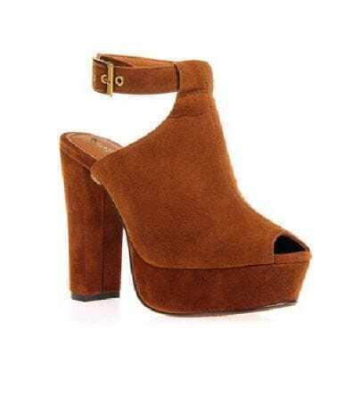 Retro Peep Camel Sandal