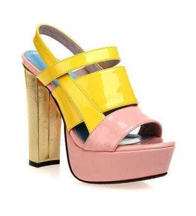 Color Contrast Platform Sandals