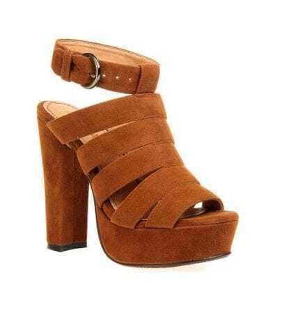 Camel Platform Heeled Sandals
