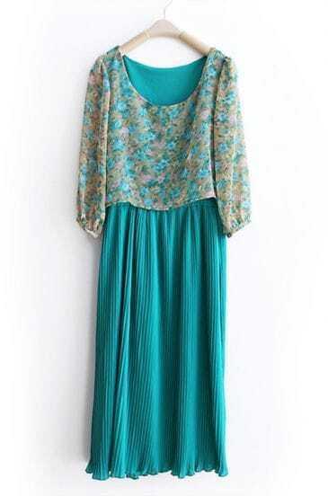 Green Flower Print Chiffon Patchwork Dresse