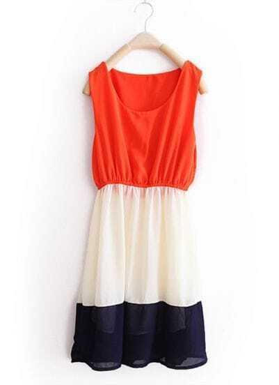 Orange-red Stripe Patchwork Chiffon Tank Dresse