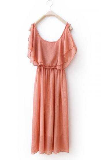 Dark Pink Ruffles Chiffon Cute Dress