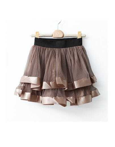 Coffee Net Yarn Ball Gown Skirt