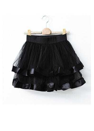 Black Net Yarn Ball Gown Skirt