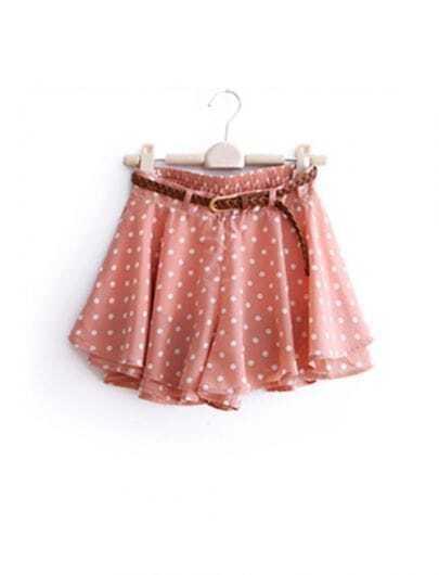 Pink Vintage Dot Chiffon Skirt